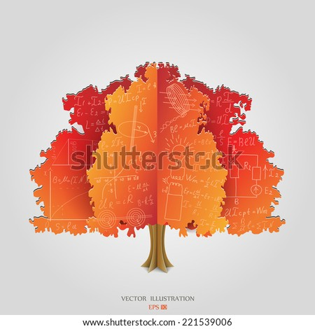 Mathematical equations and formulas on orange paper tree - illustration - stock vector