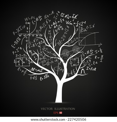 Mathematical equations and formulas on the tree. The concept of vector illustrations