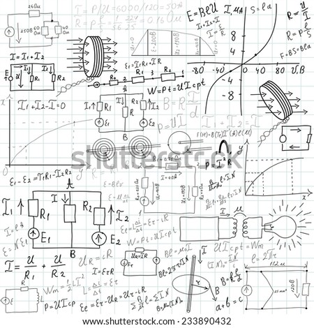 Mathematical equations and formulas - vector illustration - stock vector