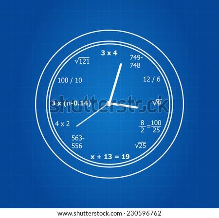 Mathematical Equations Clock On Blueprint - stock vector
