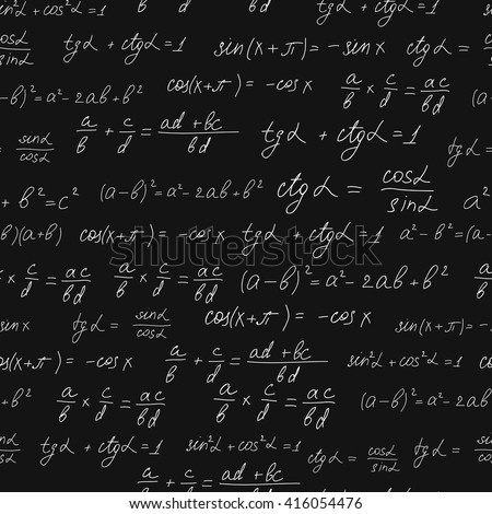 Mathematical formulas seamless pattern. White chalk on black Board. Handwritten formulas. School curriculum the learning of mathematics. The educational concept. Vector illustration.