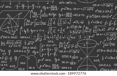 Mathematical vector seamless background with formulas and calculations - stock vector