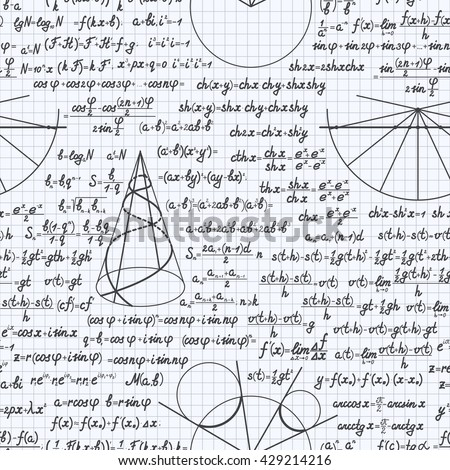 Mathematical vector seamless pattern background with formulas, equations and figures, handwritten in a notebook