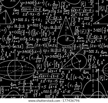 Mathematical vector seamless pattern with figures and calculations. You can use any color of background - stock vector