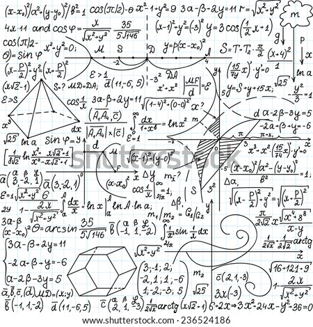 "Mathematical vector seamless pattern with formulas, plots and equations, ""handwritten on a copybook paper"""