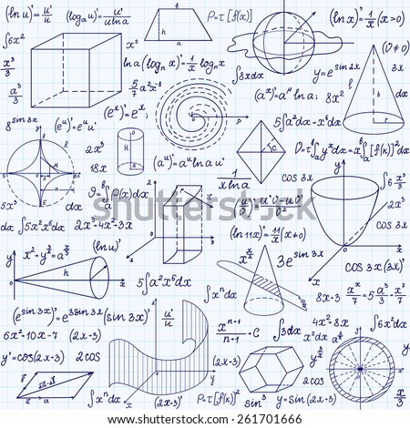 """Mathematical vector seamless pattern with geometrical figures, plots and equations, """"handwritten on the grid copybook paper"""". Endless math texture  - stock vector"""