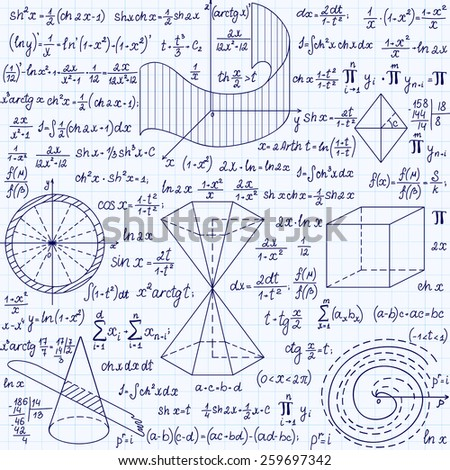 """Mathematical vector seamless pattern with geometrical figures, plots and formulas, """"handwritten on a grid copybook paper"""" - stock vector"""