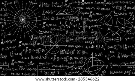 Mathematical vector seamless pattern with geometrical plots, formulas and calculations. Endless texture. You can use any color of background - stock vector