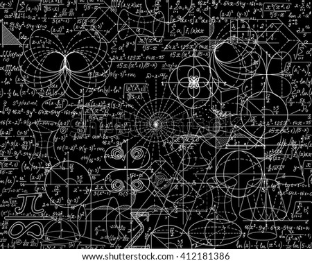 Mathematical vector seamless pattern with math calculations, formulas, plots, figures and equations shuffled together. You can use any color of background - stock vector