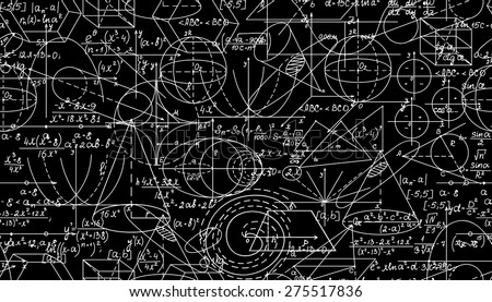 Mathematical vector seamless pattern with mathematical figures. You can use any color of background - stock vector