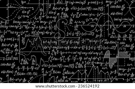 Mathematical vector seamless pattern with plots, formulas and calculations. You can use any color of background - stock vector