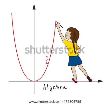 Mathematics Algebra Cartoon Kid Vector Illustration Stock ...  Mathematics Alg...