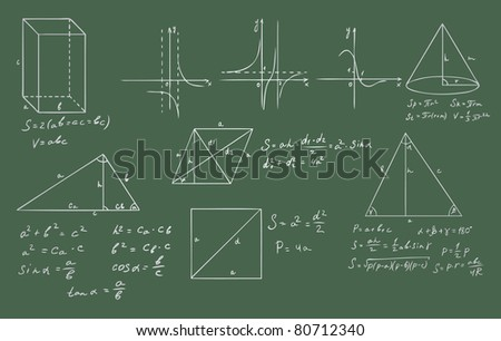 mathematics and geometry on green blackboard vector set - stock vector