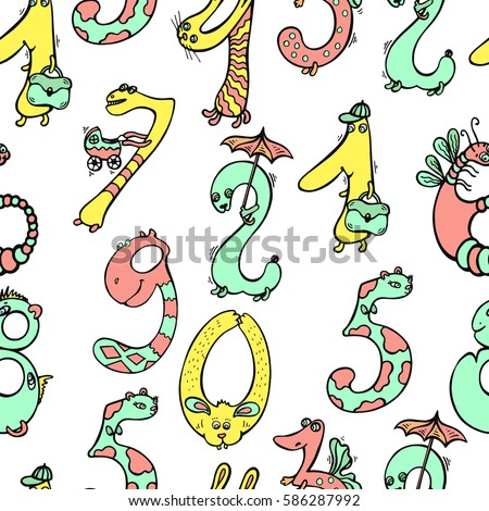 Mathematics Background Different Funny Cartoon Numbers Stock Vector ...