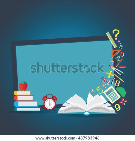 Mathematics design background with open book, back to school creative, Education conceptual, Modern template Design Vector illustration.