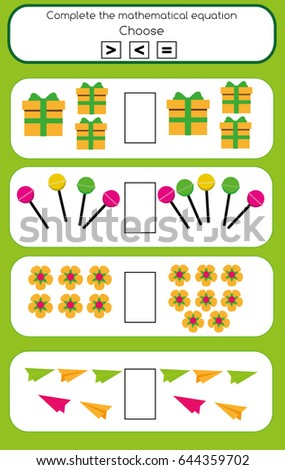 Mathematics Educational Game Children Learning Counting Stock Vector ...