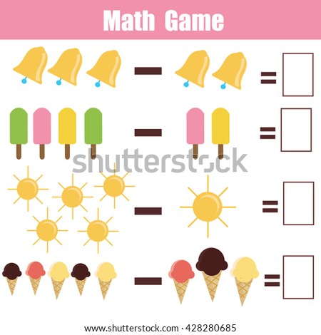 Mathematics Educational Game Children Learning Subtraction Stock ...