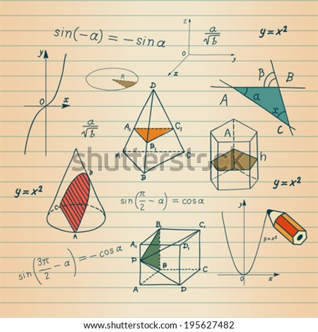 Mathematics - geometric shapes and expressions sketches  - stock vector