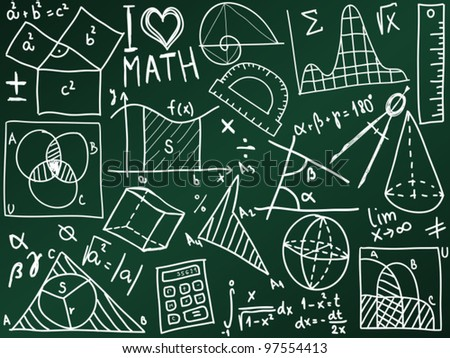 Mathematics icons and formulas on the school board - illustration - stock vector