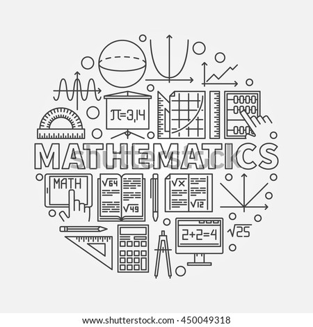 Mathematics Round Illustration Vector Math Algebra Stock Vector