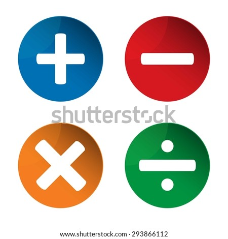 Mathematics signs. Add icon. Minus icon. Multiply icon. Divine icon. Vector