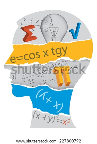 Mathematics student silhouette. Human Head silhouette with mathematics symbols. Vector illustration.  - stock vector