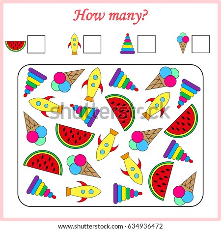Mathematics Task How Many Objects Learning Stock Vector HD (Royalty ...