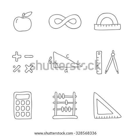 Mathematics. Vector icons, hand-drawn. - stock vector