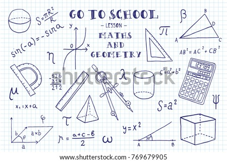 Maths geometry hand sketches on theme stock photo photo vector maths and geometry hand sketches on the theme of maths and geometry note book ccuart Image collections