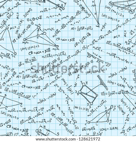 Maths seamless pattern. Tile for endless background. Swatch ready. And also includes EPS 8 vector - stock vector