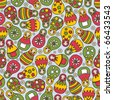 Matreshka doll seamless pattern. Vector doodle illustration. - stock vector