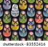 Matreshka russian doll seamless pattern. Vector doodle illustration. - stock vector