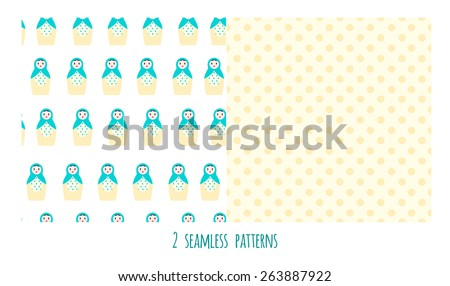 Matreshka, seamless background set of nesting dolls - stock vector