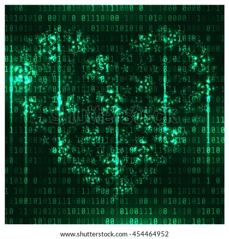 Matrix background with the green symbols and flowers heart. Matrix heart. Vector Art