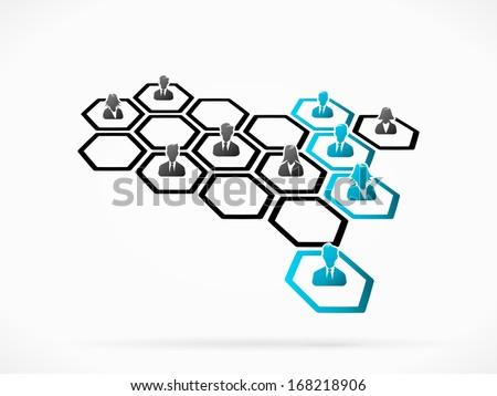 Matrix management of cross functional individuals reporting line  - stock vector