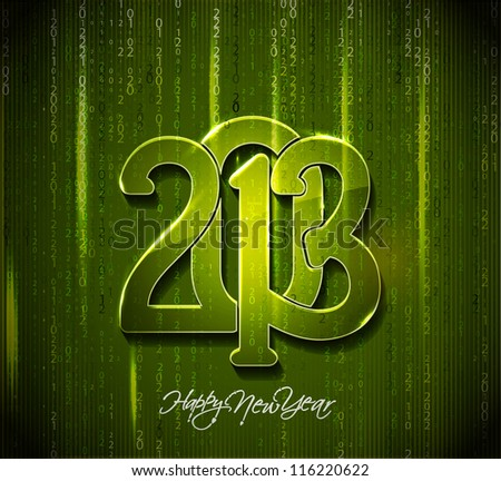 Matrix style new year 2013 background with green digits and rays - stock vector