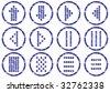 Matrix symbols icon set. Grunge. White - dark blue palette. Vector illustration. - stock vector