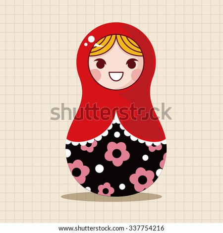 Matryoshka , Russian traditional wooden doll, vector pattern, elements,eps - stock vector
