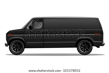 Matte black van with black alloy rims and blank space on the side for your text or logo. Detailed vector illustration. - stock vector