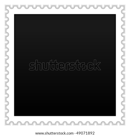 Matted black blank postage stamp with shadow on white - stock vector