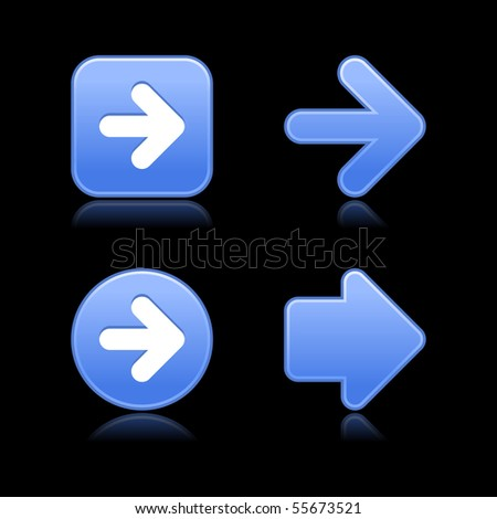 Matted blue arrow symbol web 2.0 buttons with reflection on black background - stock vector