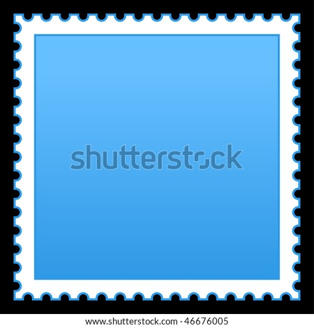 Matted blue blank postage stamp on black background - stock vector