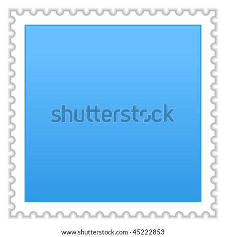 Matted blue blank postage stamp with shadow on white background - stock vector