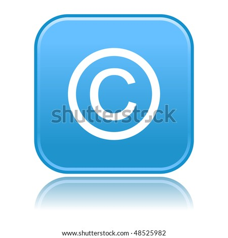 Matted blue rounded squares buttons with copyright symbol and reflection