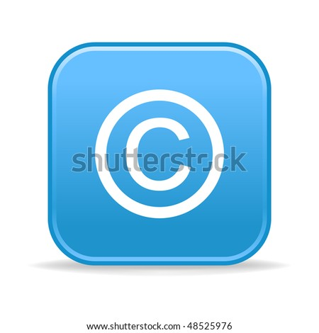 Matted blue rounded squares buttons with copyright symbol and shadow