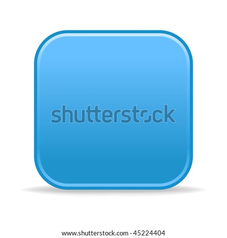 Matted blue satin blank rounded squares buttons with shadow on white background - stock vector