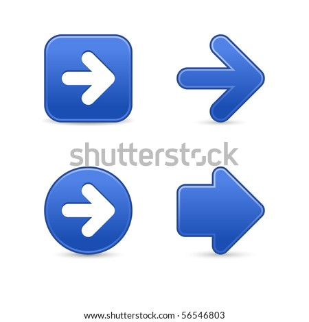 Matted cobalt arrow sign web 2.0 buttons with shadow on white background