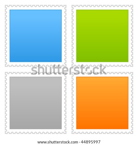 Matted color blank postage stamp with shadow on white background - stock vector