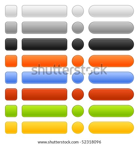 Matted colored blank web buttons on white background - stock vector