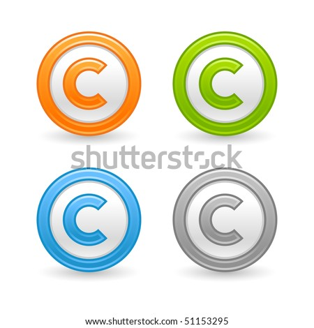 Matted colored round buttons with copyright symbol on white - stock vector